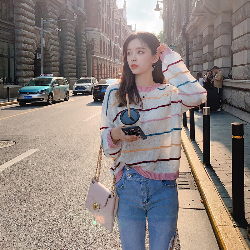 MISHOW Women Sweater Autumn Causal Stripe Thorough Knit Pullover 2019 Fashion Loose Oneck Long Sleeves Pink Sweaters MX19C5437