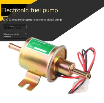 high quality full metal methanol gasoline electric pump for fuel helicoter rc airplanes rc boat fuel metal pump free shipping High Quality Low Pressure Universal Diesel Petrol Gasoline Electric Fuel Pump HEP-02A 12V 24V For Car Motorcycle +50pcs sticker