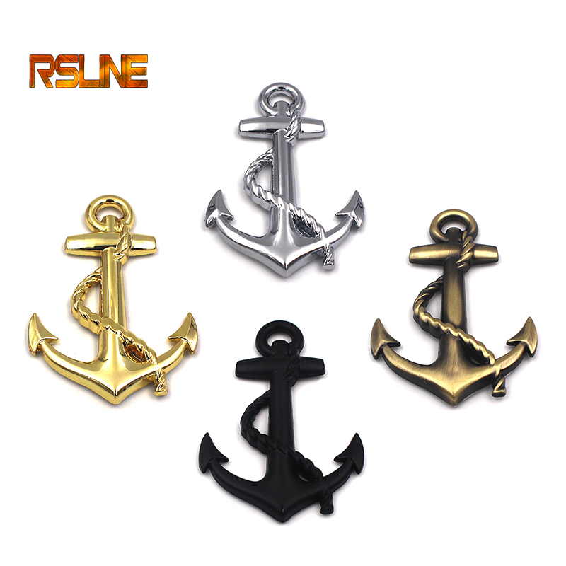 1 PCS High Quality Metal Personality Car Stickers Boat Anchor Hooks Navy Emblem Grill Cross Badge Pirate Ship Car Body Sticker