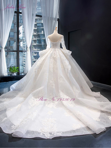 Image 2 - Julia Kui High end Vintage Puffy Skirt Of Ball Gown Wedding Dresses With Long Sleeve Beauty Bridal Gowns Robe de Mariage