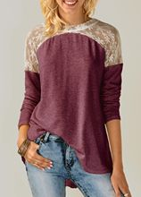 Hot Selling Crew Neck Lace-up Lace Joint Large Size Long Sleeve WOMEN'S Top T-shirt