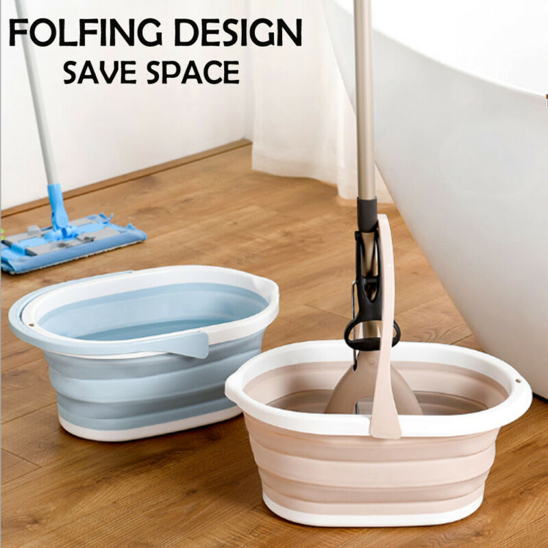 Foldable Mop Buckets Collapsible Portable Wash Basin Dishpan With Handle For Household Cleaning Tools & Accessories
