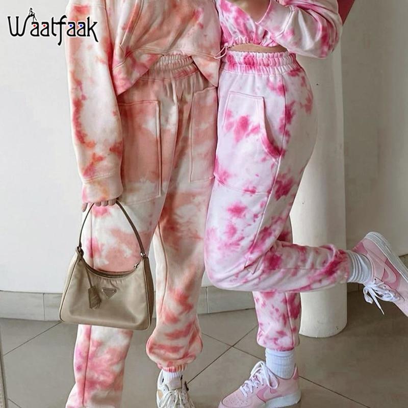 Waataak Pocket Patchwork Baggy Pink Tie Dye Sweatpants Women Summer Joggers High Waist Harem Pants Capris Sweat Pants Streetwear