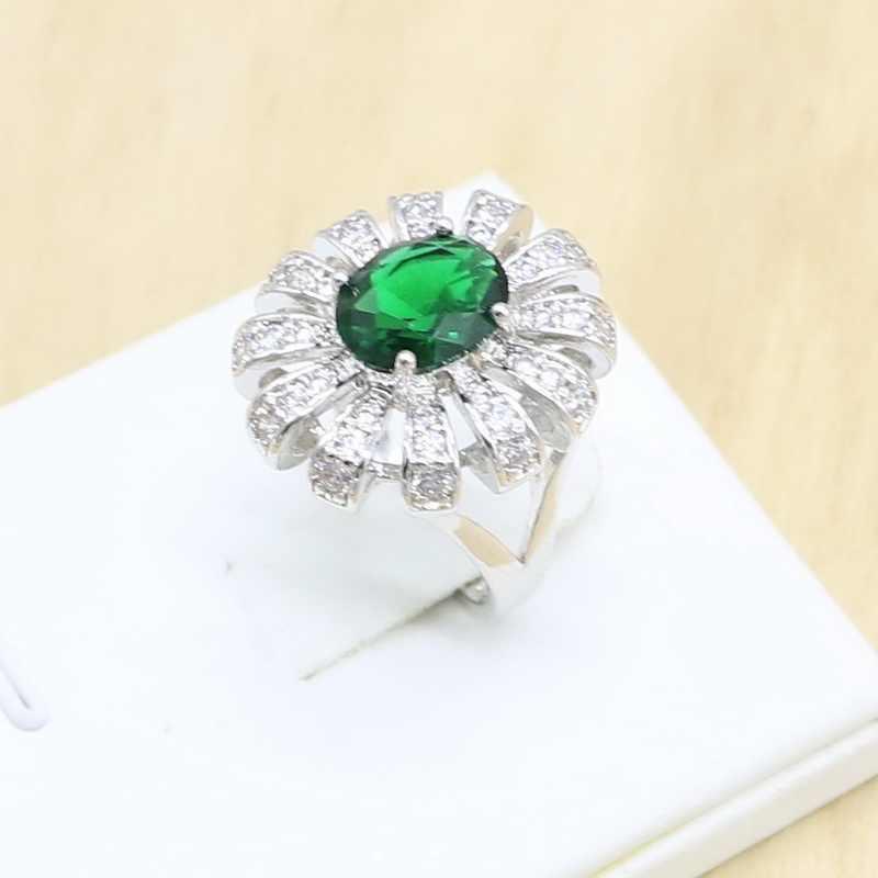 Цветок Зеленый Кристалл 925 серебряные Свадебные украшения наборы для женщин серьги кольца ожерелье кулон подарок на день рождения коробка