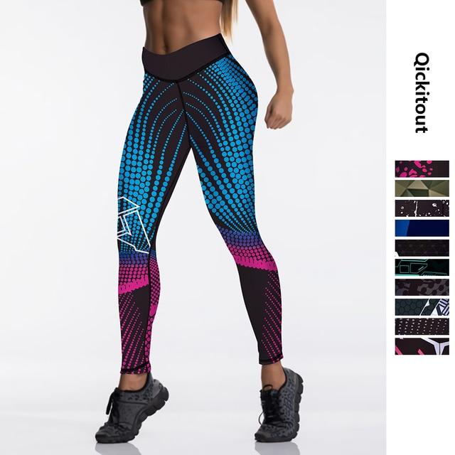 Qickitout 12%spandex Sexy High Waist Elasticity Women Digital Printed Leggings Push Up Strength Pants 1