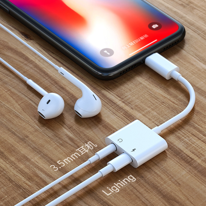 2 In 1 For Dual Lightning Audio Converter Plus Splitter Earphone Aux Cable Adapter For IPhone X 7 8 Plus Charging Cable