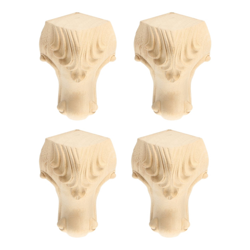 4PCS Wooden Furniture Legs Solid Wood Carved Sofa/Chair/Table/Wardrobe/Loveseat Feet For Home Decor Furniture Legs 5X10cm