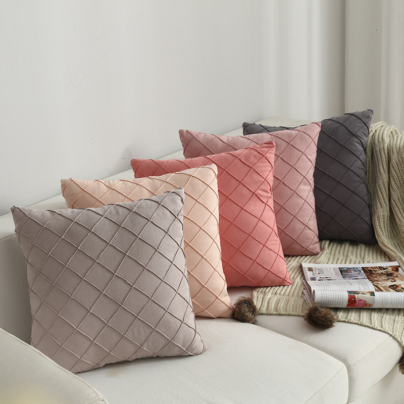 Household Supplies Modern Simple Nordic Pillow Cover Suede Check Luxury Cushion Cover