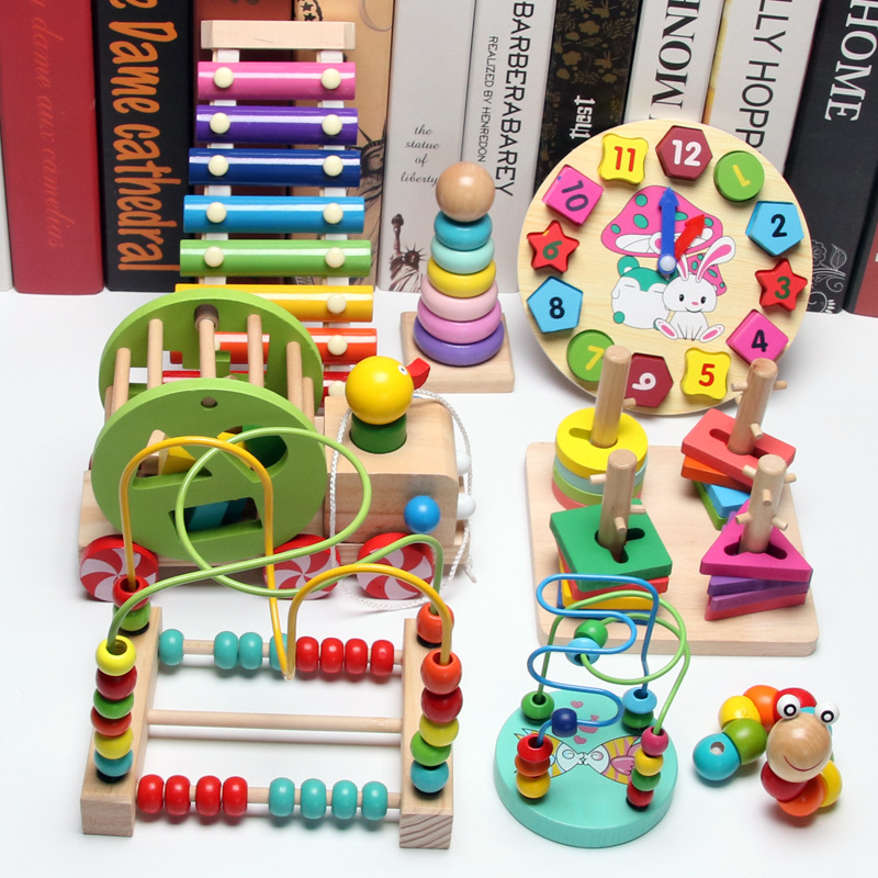 Children Wood Building Blocks Toy 1-2-3 A Year Of Age A-Year-Old Infant GIRL'S And BOY'S Baby Educational ENLIGHTEN Beaded Brace