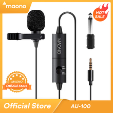 MAONO Lavalier Microphone 6M Clip on Collar Condenser Microphone Handsfree Lapel Mic for Smartphone Canon DSLR Camera PC Laptop