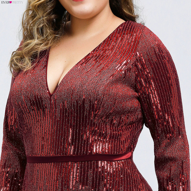 Plus Size Sequined Evening Dresses Ever Pretty Mermaid Deep V-Neck Long Sleeve Sexy Sparkle Evening Gowns Abiye Gece Elbisesi 4