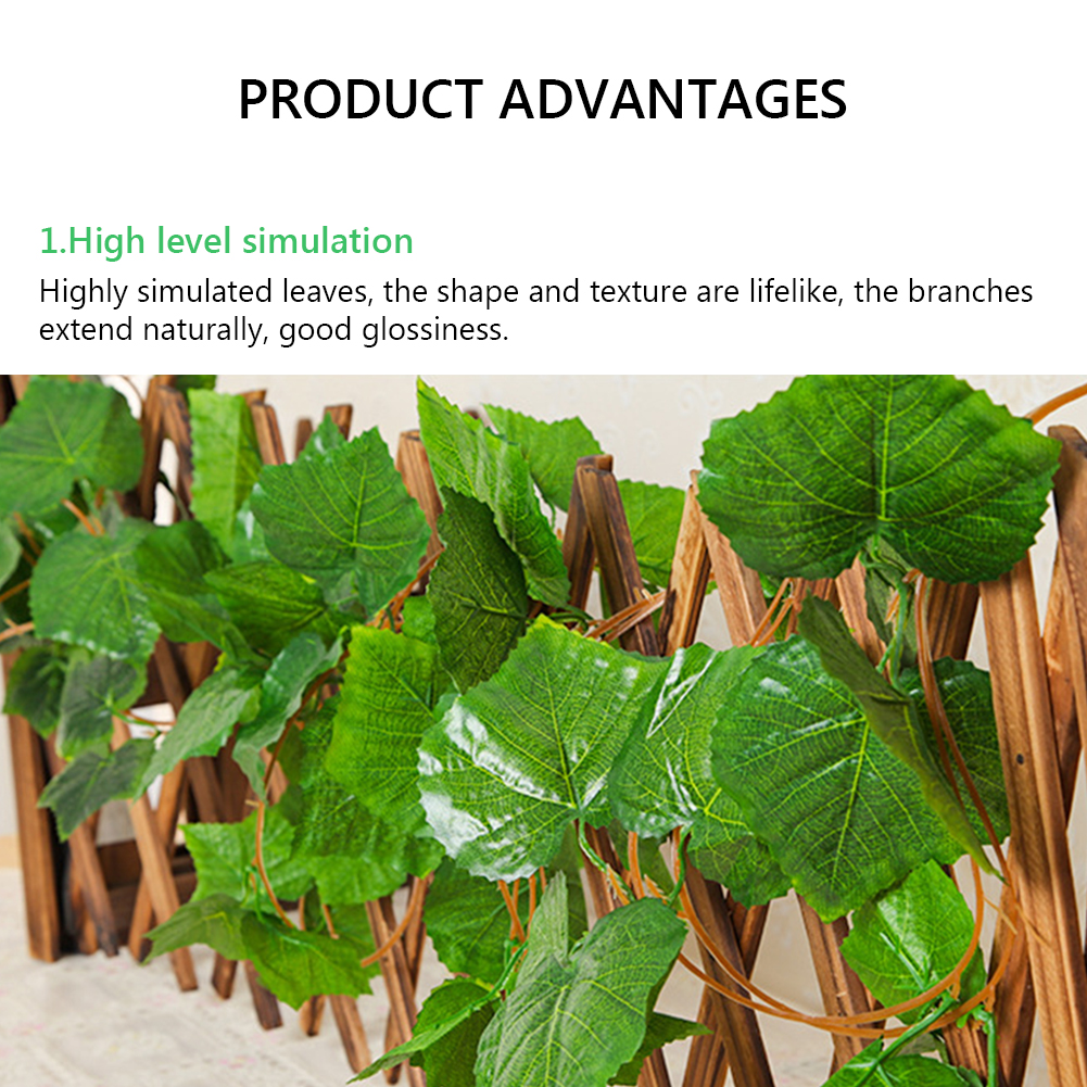 12pcs 3 Style Room Grape Vines Party Hanging Green artificial Decoration Ivy 7.5ft 36/72 leaves Artificial Home Decor Garden-3