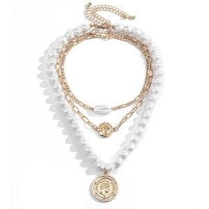 Europäischen und Amerikanischen modeschmuck mit Barock geformt perle halskette einfache und einfache porträt anhänger halskette für weibliche