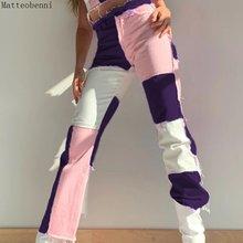 Розовый пэчворк прямые джинсы женские в винтажном стиле с высокой