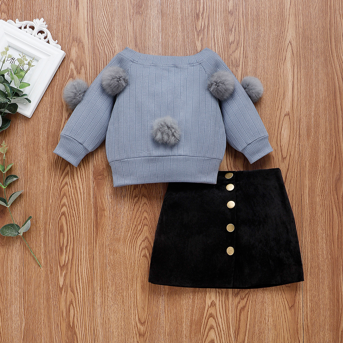 Top and Top Cute Toddler Baby Girls Hairball Sweater Cotton Long Sleeve Knitted Pullover Top