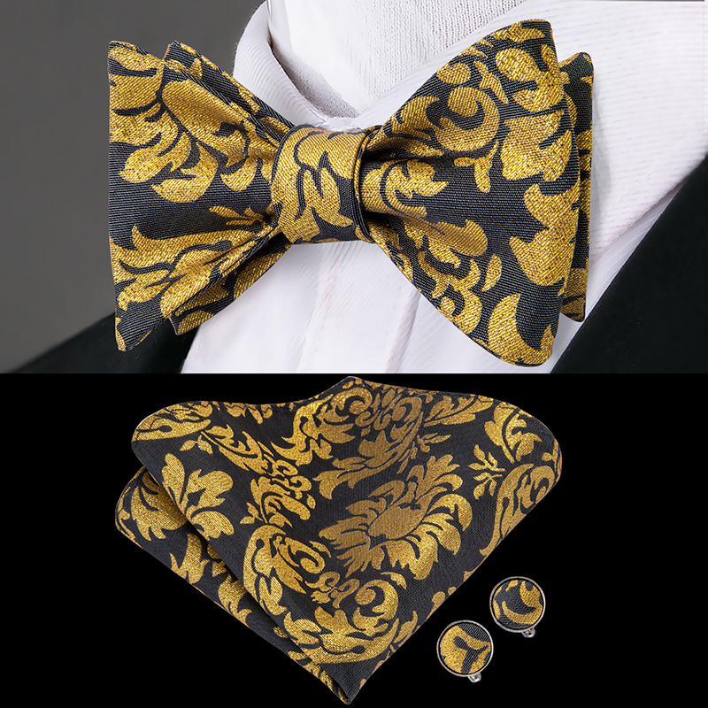 Hi-Tie 100% Silk Bow Tie Men Butterfly Tie Luxury Gold Flower BowTie Pocket Square Hanky Cufflinks Set Brown Pink Blue Bow Ties
