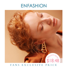 ENFASHION çok katmanlı daire bağlantıları bırak küpe kadınlar için altın renk uzun püskül Dangle küpe moda takı Pendientes E1073