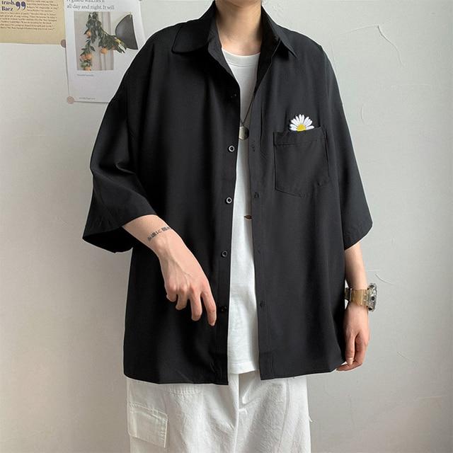 рубашка shirt men Marguerite Three-quarter Sleeves Shirt Pocket Summer Men Casual Top Workwear shirts for men  рубашка мужская 3