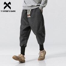 Jogger Men Trousers Tactical-Pant Harem Oversize Elastic-Waist Black Man DARK Solid 11