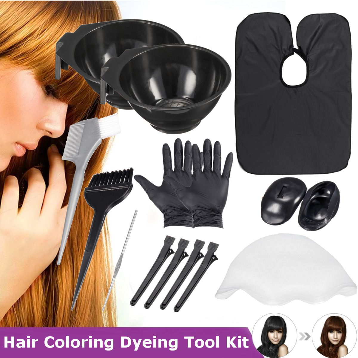 Salon Hair Color Dye Bowl Comb Brushes Tool Kit Set With Highlighting Dye Cap Tint Coloring Dye Bowl Comb Brush Styling Tool