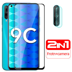 for huawei honor 9c glass 2 in 1 camera protective glass honor 9c xonor 9 c c9 on honor9c aka-l29 screen protector 3D cover film