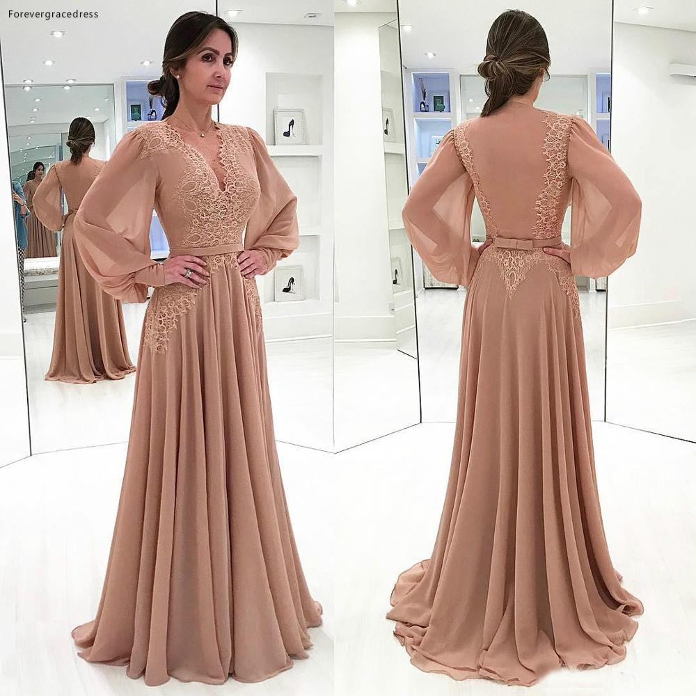 New Arrival Long Sleeves Chiffon Mother Of The Bride Dresses Formal Godmother Evening Wedding Party Guests Gown Plus Size