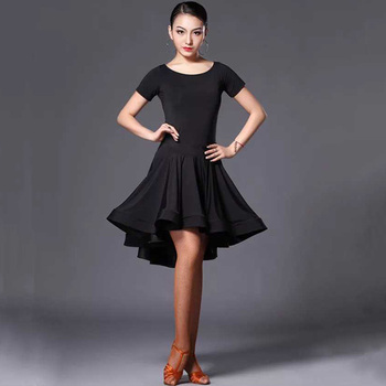 Sexy Long Short-Sleeve Latin Dance One-Piece Dress for Women Ballroom Tango Cha Skirt Competition - sale item Stage & Dance Wear