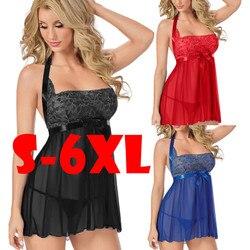 Модный женский Babydoll сорочка, сексуальный Дамский кружевной вечерний халат, женское нижнее белье, интимное белье размера плюс, S-6XL