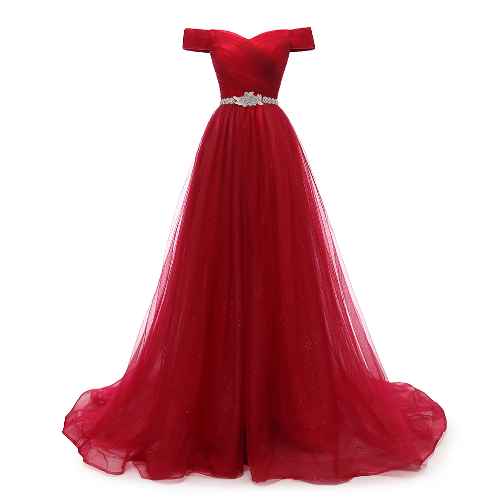 VKBRIDAL Off Shoulder Red Long Evening Dress Belt Beaded Vintage Prom Gowns Vestido De Festa Lace Up Back Cheap Evening Gown