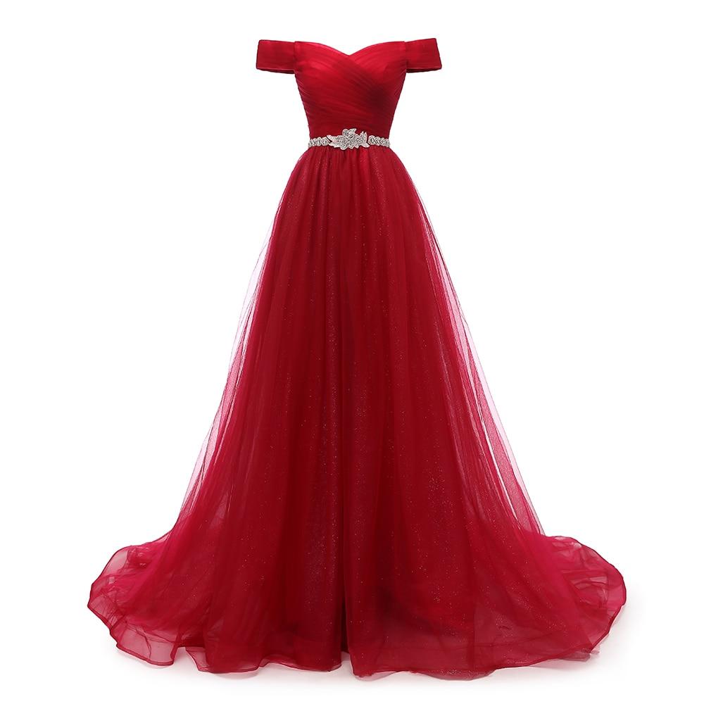 VKBRIDAL Off Shoulder Red Long Evening Dress Belt Beaded Vintage Prom Gowns Vestido De Festa Lace Up Back Cheap Evening Gown