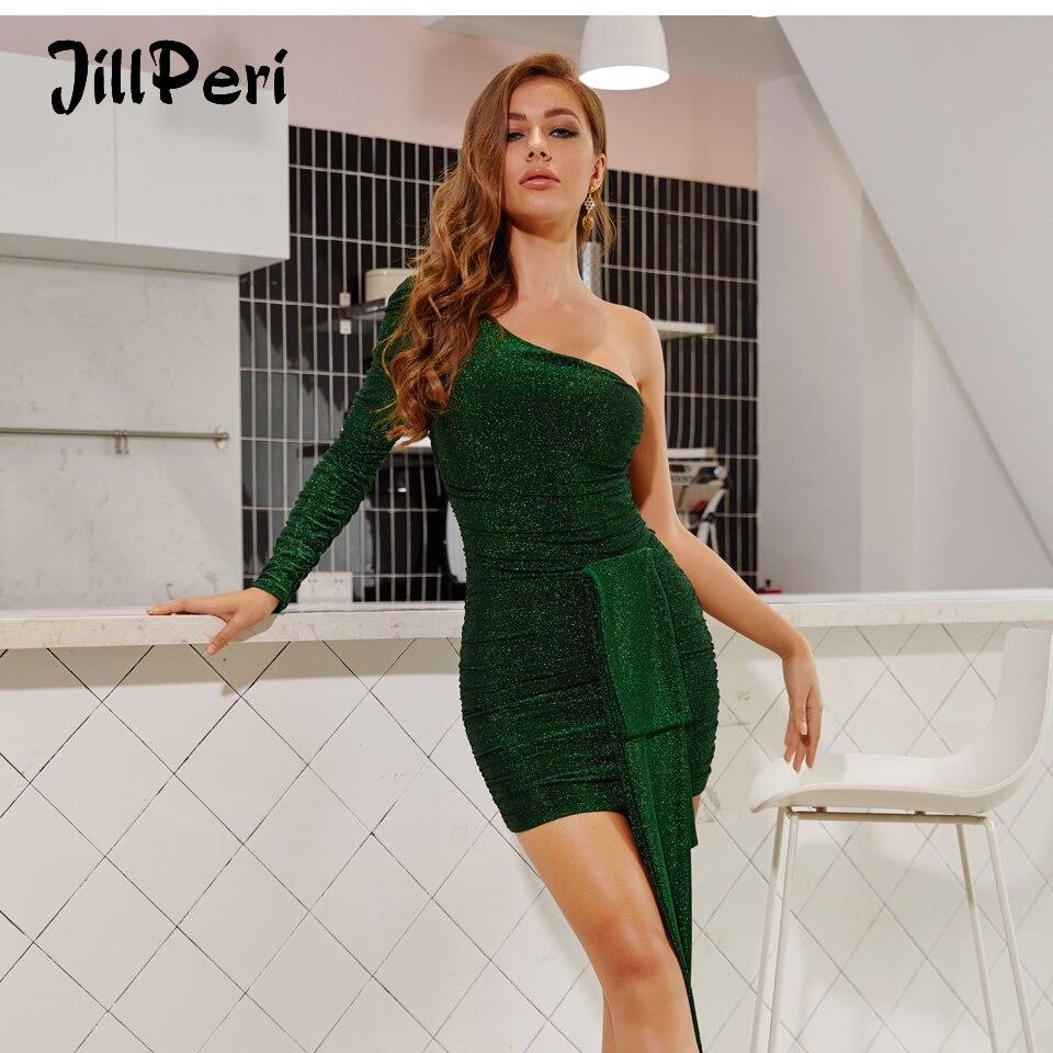 JillPeri Women Sexy One Shoulder Sparkle Galaxy Party Dress Fashion Front Drop Elegant Outfits Celebrity Birthday Mini Dress