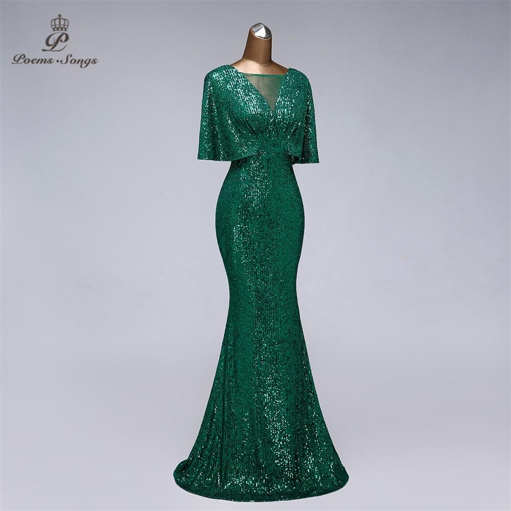 Sexy sequin Evening dress short sleeves vestidos de fiesta green dress evening gowns for women Party dress prom dresses - prom-dresses, plus-size-dresses
