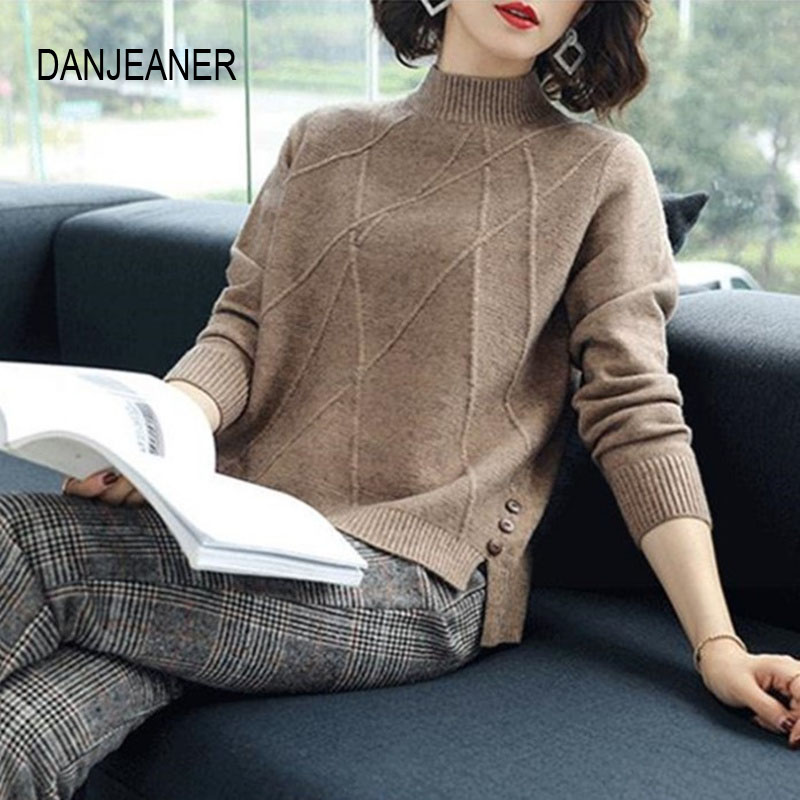DANJEANER Autumn Winter Women Half Turtleneck Sweater Office Lady Solid Casual Knitted Pullover Basic Knitwear Elegant Jumpers