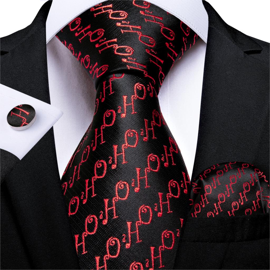 Gift Men Tie Black Red Silk Christmas Tie For Men Halloween DiBanGu New Novelty Designer Hanky Cufflinks Men Tie Set MJ-7274