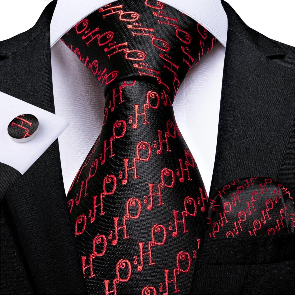 Gift Men Tie Black Red Silk Christmas Tie For Men Halloween DiBanGu New Novelty Designer Hanky Cufflinks Men Tie Set MJ-7274