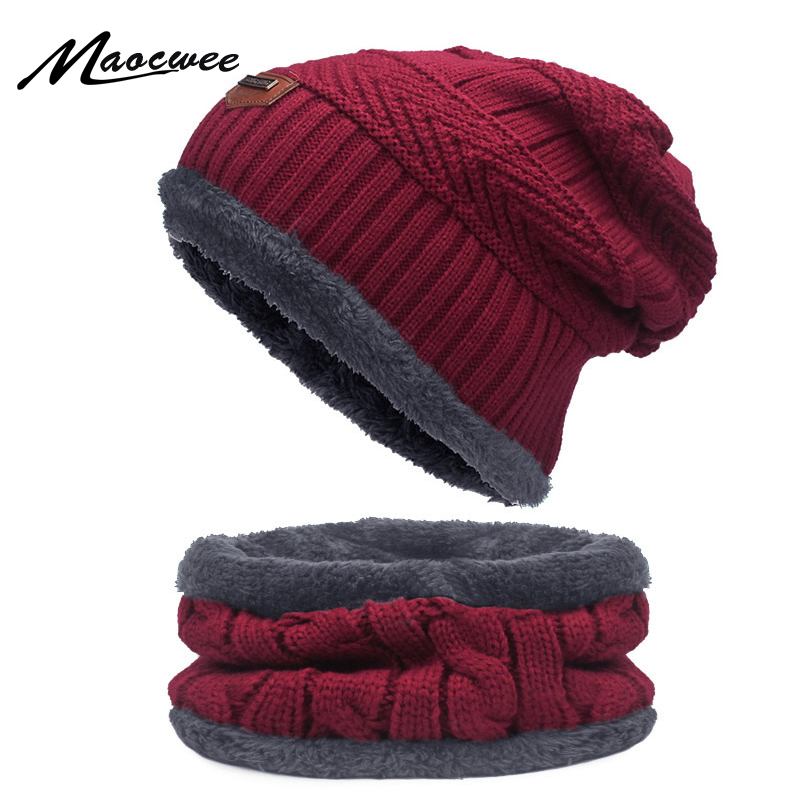 Two-piece Scarf Hat Set Women Men Beanies Knitted Skullies Hats Winter Warm Wool Crochet Caps Unisex With Natural Fashionable