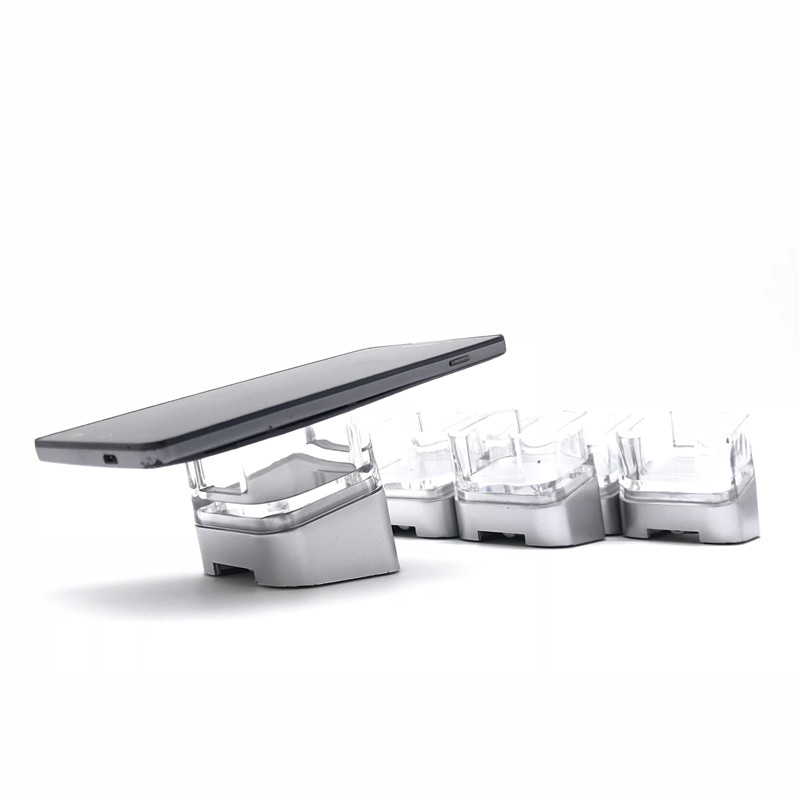 Para huawei samsung xiaomi loja de varejo 6 porta acrílico titular smartphone sistema de exibição de alarme de segurança de carga