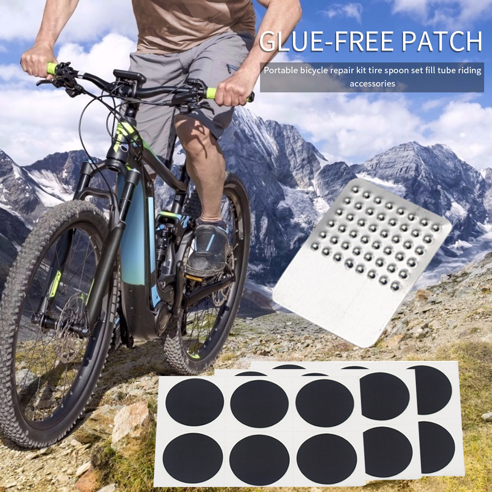 Bicycle Glue-free Patches Tyre Tire Repair Tool Kit Inner Tube Rubber Bike for Outdoor Caring Personal Bicycle Supply
