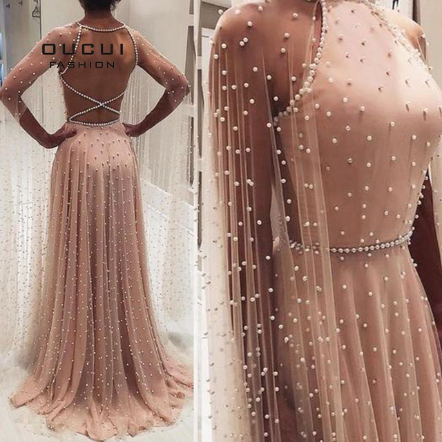 Oucui Luxury Illusion Pink Pearls Open Back Evening Party Dresses Long 2020 Halter Tulle A line Prom Gown with Cape OL103546