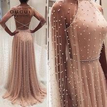 Oucui luksusowe Illusion różowe perły bez pleców suknie wieczorowe długie 2020 Halter tiul line suknia wieczorowa z Cape OL103546