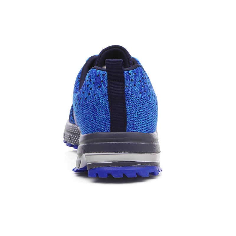 Hot Koop 2019 Zomer Mannen Schoenen Ademend Mesh Schoenen Lichtgewicht Comfort Sneakers Man Casual Schoenen Mode Nieuwe Grote Size Blauw