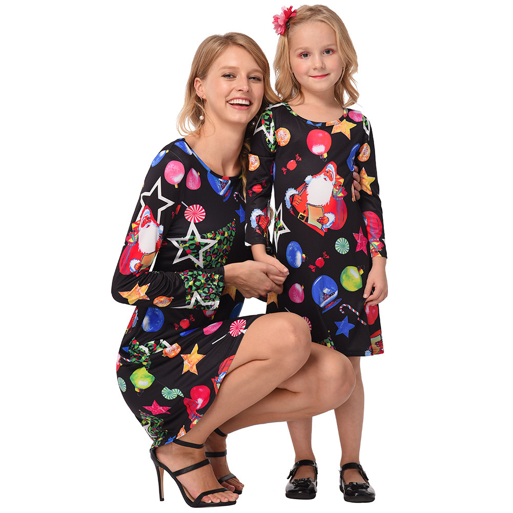 ZSIIBO Family Matching Clothing Parent-child Loaded Lucky Star Ice Snowball Christmas Print Dress Parent-child Skirt WGBLYQ18