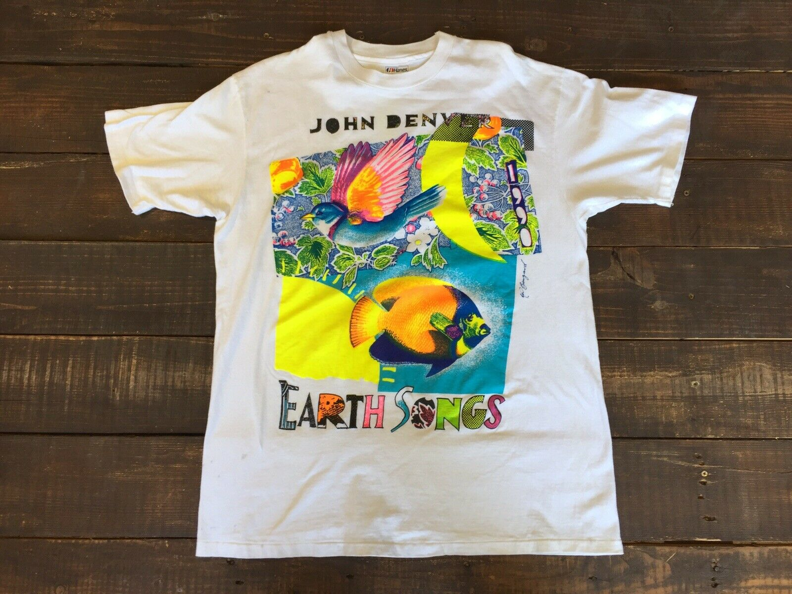 Vtg John Denver Earth Songs Hippie 70s 80s 90 Vegan Organic PETA Soul Rock Shirt Summer Style Hip Hop Men T-Shirt Tops image