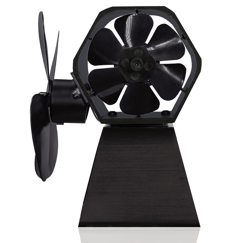 2-In-1 Heat Powered Stove Fan Side Fan Eco Fan For Wood Log Burner Fireplace