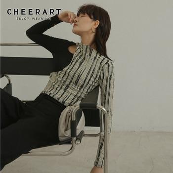 CHEERART Designer T Shirt For Women Sexy Hollow-Out Ladies T Shirt Patchwork Long Sleeve Tee Shirt Femme Top Underwear 1