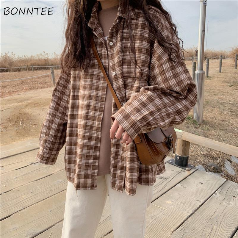 Shirts Women Plaid Classic Loose 2XL All-match Chic Korean Soft High Quality Womens Shirt Vintage New Harajuku BF Daily Casual