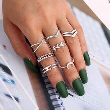 7 шт/компл модное серебряное стекируемое кольцо геометрическая