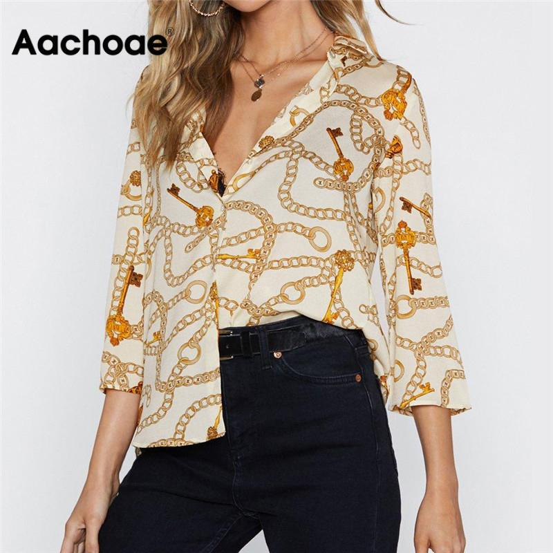 Aachoae Women Blouses Chain Print Summer Blouse Turn Down Collar Office Shirts Loose Casual Tops Blusas Chemise Femme Plus Size