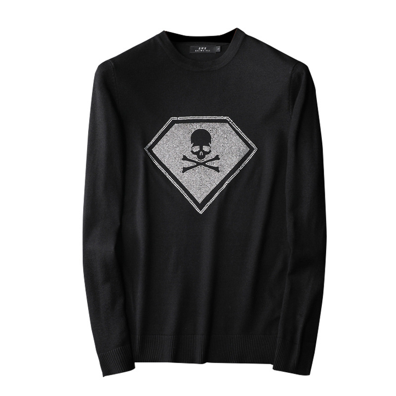 New Men Luxury Gentleman Cotton Embroidery Skull Head Diamonds Casual Sweaters Pullover Asian Plug Size High Quality Drake #N22