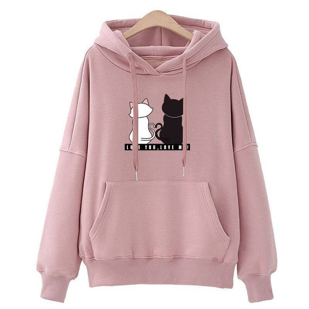 JAYCOSIN Cute Cat Print Sweatshirt Top Hooded Casual Sports Loose Couple Sisters Sweatshirt Warm Autumn Winter New Products